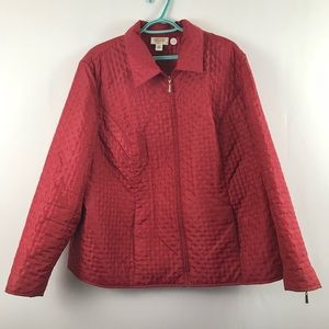 Talbots Red Jacket 18W Quilted Full ZIP Pockets